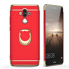Handyhülle Hülle Luxus Metall Rahmen und Kunststoff mit Fingerring Ständer für Huawei Mate 9 Rot