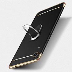 Handyhülle Hülle Luxus Metall Rahmen und Kunststoff mit Fingerring Ständer für Huawei Y6 (2019) Schwarz