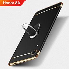 Handyhülle Hülle Luxus Metall Rahmen und Kunststoff mit Fingerring Ständer für Huawei Y6 Pro (2019) Schwarz