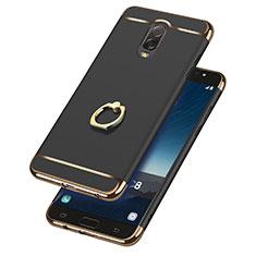 Handyhülle Hülle Luxus Metall Rahmen und Kunststoff mit Fingerring Ständer für Samsung Galaxy J7 Plus Schwarz