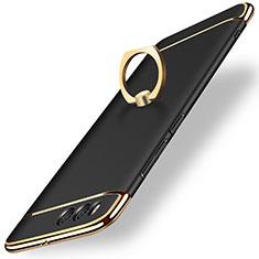 Handyhülle Hülle Luxus Metall Rahmen und Kunststoff mit Fingerring Ständer für Xiaomi Mi 6 Schwarz