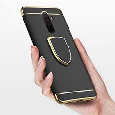 Handyhülle Hülle Luxus Metall Rahmen und Kunststoff mit Fingerring Ständer für Xiaomi Pocophone F1 Schwarz