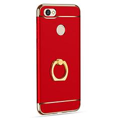 Handyhülle Hülle Luxus Metall Rahmen und Kunststoff mit Fingerring Ständer für Xiaomi Redmi Note 5A High Edition Rot