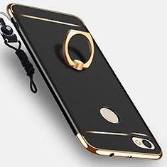 Handyhülle Hülle Luxus Metall Rahmen und Kunststoff mit Fingerring Ständer für Xiaomi Redmi Note 5A Pro Schwarz