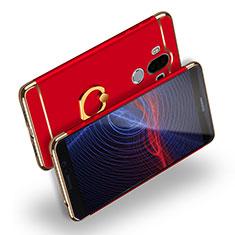 Handyhülle Hülle Luxus Metall Rahmen und Kunststoff mit Fingerring Ständer Q04 für Huawei Mate 9 Rot