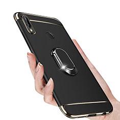 Handyhülle Hülle Luxus Metall Rahmen und Kunststoff mit Magnetisch Fingerring Ständer für Huawei Nova 3i Schwarz