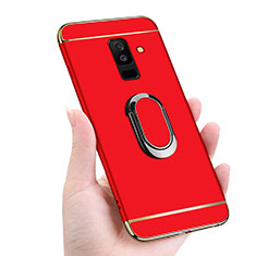 Handyhülle Hülle Luxus Metall Rahmen und Kunststoff mit Magnetisch Fingerring Ständer für Samsung Galaxy A6 Plus (2018) Rot