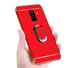 Handyhülle Hülle Luxus Metall Rahmen und Kunststoff mit Magnetisch Fingerring Ständer für Samsung Galaxy A9 Star Lite Rot