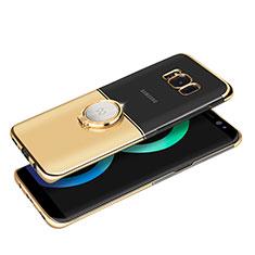 Handyhülle Hülle Luxus Metall Rahmen und Kunststoff mit Magnetisch Fingerring Ständer für Samsung Galaxy S8 Plus Gold