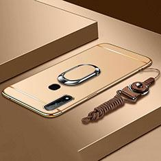 Handyhülle Hülle Luxus Metall Rahmen und Kunststoff Schutzhülle Hartschalen Tasche mit Fingerring Ständer A01 für Oppo A31 Gold
