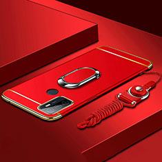 Handyhülle Hülle Luxus Metall Rahmen und Kunststoff Schutzhülle Hartschalen Tasche mit Fingerring Ständer A01 für Oppo A53s Rot