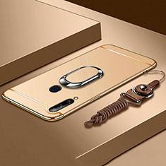 Handyhülle Hülle Luxus Metall Rahmen und Kunststoff Schutzhülle Hartschalen Tasche mit Fingerring Ständer A01 für Samsung Galaxy A20s Gold