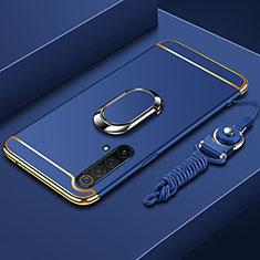 Handyhülle Hülle Luxus Metall Rahmen und Kunststoff Schutzhülle Hartschalen Tasche mit Fingerring Ständer und Lanyard für Realme X50 5G Blau