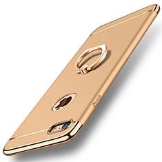Handyhülle Hülle Luxus Metall Rahmen und Kunststoff Schutzhülle Tasche mit Fingerring Ständer A01 für Apple iPhone 7 Gold