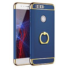 Handyhülle Hülle Luxus Metall Rahmen und Kunststoff Schutzhülle Tasche mit Fingerring Ständer A01 für Huawei Honor 8 Blau