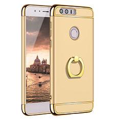 Handyhülle Hülle Luxus Metall Rahmen und Kunststoff Schutzhülle Tasche mit Fingerring Ständer A01 für Huawei Honor 8 Gold