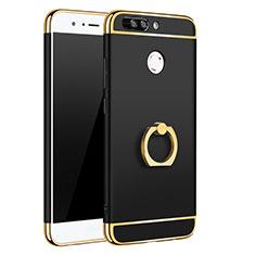 Handyhülle Hülle Luxus Metall Rahmen und Kunststoff Schutzhülle Tasche mit Fingerring Ständer A01 für Huawei Honor 8 Pro Schwarz