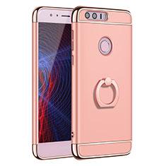 Handyhülle Hülle Luxus Metall Rahmen und Kunststoff Schutzhülle Tasche mit Fingerring Ständer A01 für Huawei Honor 8 Rosegold