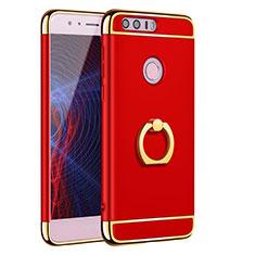 Handyhülle Hülle Luxus Metall Rahmen und Kunststoff Schutzhülle Tasche mit Fingerring Ständer A01 für Huawei Honor 8 Rot