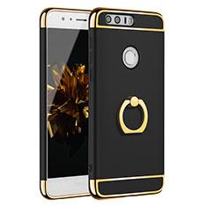 Handyhülle Hülle Luxus Metall Rahmen und Kunststoff Schutzhülle Tasche mit Fingerring Ständer A01 für Huawei Honor 8 Schwarz