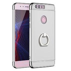 Handyhülle Hülle Luxus Metall Rahmen und Kunststoff Schutzhülle Tasche mit Fingerring Ständer A01 für Huawei Honor 8 Silber