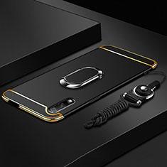 Handyhülle Hülle Luxus Metall Rahmen und Kunststoff Schutzhülle Tasche mit Fingerring Ständer A01 für Huawei Honor 9X Schwarz