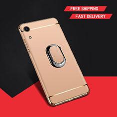 Handyhülle Hülle Luxus Metall Rahmen und Kunststoff Schutzhülle Tasche mit Fingerring Ständer A01 für Huawei Honor Play 8A Gold