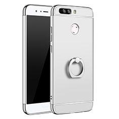 Handyhülle Hülle Luxus Metall Rahmen und Kunststoff Schutzhülle Tasche mit Fingerring Ständer A01 für Huawei Honor V9 Silber