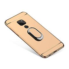 Handyhülle Hülle Luxus Metall Rahmen und Kunststoff Schutzhülle Tasche mit Fingerring Ständer A01 für Huawei Mate 20 Gold