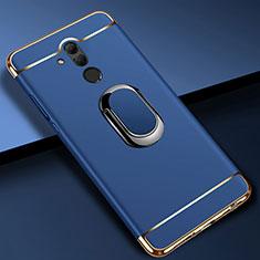 Handyhülle Hülle Luxus Metall Rahmen und Kunststoff Schutzhülle Tasche mit Fingerring Ständer A01 für Huawei Mate 20 Lite Blau