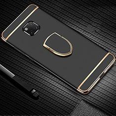Handyhülle Hülle Luxus Metall Rahmen und Kunststoff Schutzhülle Tasche mit Fingerring Ständer A01 für Huawei Mate 20 Pro Schwarz