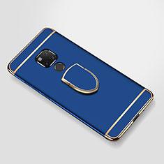 Handyhülle Hülle Luxus Metall Rahmen und Kunststoff Schutzhülle Tasche mit Fingerring Ständer A01 für Huawei Mate 20 X 5G Blau