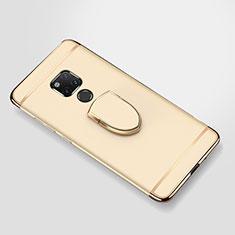 Handyhülle Hülle Luxus Metall Rahmen und Kunststoff Schutzhülle Tasche mit Fingerring Ständer A01 für Huawei Mate 20 X 5G Gold