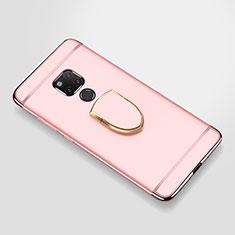 Handyhülle Hülle Luxus Metall Rahmen und Kunststoff Schutzhülle Tasche mit Fingerring Ständer A01 für Huawei Mate 20 X 5G Rosegold