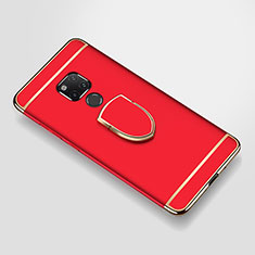 Handyhülle Hülle Luxus Metall Rahmen und Kunststoff Schutzhülle Tasche mit Fingerring Ständer A01 für Huawei Mate 20 X 5G Rot