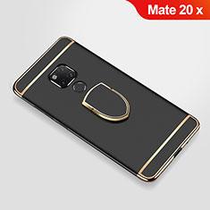 Handyhülle Hülle Luxus Metall Rahmen und Kunststoff Schutzhülle Tasche mit Fingerring Ständer A01 für Huawei Mate 20 X 5G Schwarz