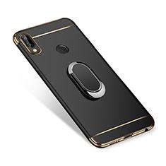 Handyhülle Hülle Luxus Metall Rahmen und Kunststoff Schutzhülle Tasche mit Fingerring Ständer A01 für Huawei Nova 3i Schwarz