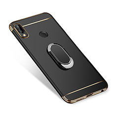 Handyhülle Hülle Luxus Metall Rahmen und Kunststoff Schutzhülle Tasche mit Fingerring Ständer A01 für Huawei P Smart+ Plus Schwarz
