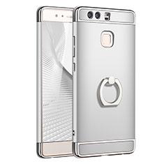 Handyhülle Hülle Luxus Metall Rahmen und Kunststoff Schutzhülle Tasche mit Fingerring Ständer A01 für Huawei P9 Silber