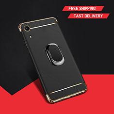 Handyhülle Hülle Luxus Metall Rahmen und Kunststoff Schutzhülle Tasche mit Fingerring Ständer A01 für Huawei Y6 (2019) Schwarz