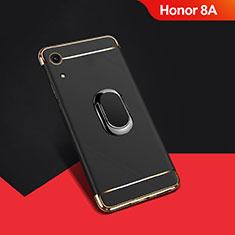 Handyhülle Hülle Luxus Metall Rahmen und Kunststoff Schutzhülle Tasche mit Fingerring Ständer A01 für Huawei Y6 Prime (2019) Schwarz