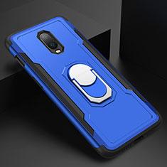 Handyhülle Hülle Luxus Metall Rahmen und Kunststoff Schutzhülle Tasche mit Fingerring Ständer A01 für OnePlus 6T Blau