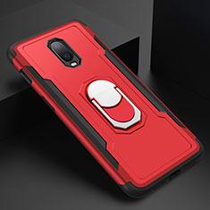 Handyhülle Hülle Luxus Metall Rahmen und Kunststoff Schutzhülle Tasche mit Fingerring Ständer A01 für OnePlus 6T Rot