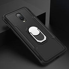Handyhülle Hülle Luxus Metall Rahmen und Kunststoff Schutzhülle Tasche mit Fingerring Ständer A01 für OnePlus 6T Schwarz