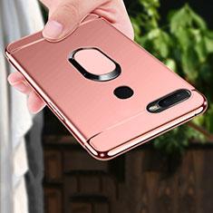 Handyhülle Hülle Luxus Metall Rahmen und Kunststoff Schutzhülle Tasche mit Fingerring Ständer A01 für Oppo A7 Rosegold