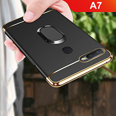 Handyhülle Hülle Luxus Metall Rahmen und Kunststoff Schutzhülle Tasche mit Fingerring Ständer A01 für Oppo A7 Schwarz