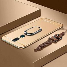 Handyhülle Hülle Luxus Metall Rahmen und Kunststoff Schutzhülle Tasche mit Fingerring Ständer A01 für Oppo A9 Gold