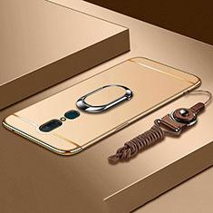 Handyhülle Hülle Luxus Metall Rahmen und Kunststoff Schutzhülle Tasche mit Fingerring Ständer A01 für Oppo A9X Gold