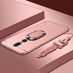 Handyhülle Hülle Luxus Metall Rahmen und Kunststoff Schutzhülle Tasche mit Fingerring Ständer A01 für Oppo A9X Rosegold