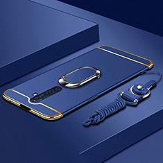 Handyhülle Hülle Luxus Metall Rahmen und Kunststoff Schutzhülle Tasche mit Fingerring Ständer A01 für Oppo Reno2 Z Blau